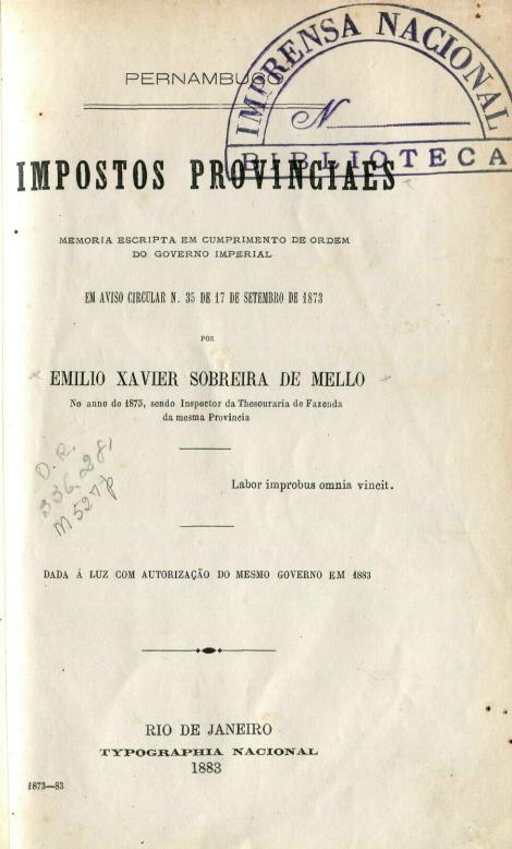 Capa do Livro Impostos Provinciaes