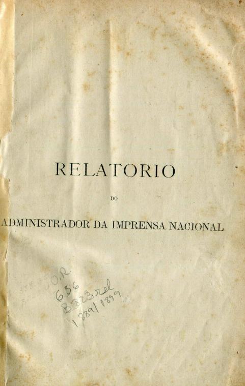 Capa do Livro Relatório do Administrador da Imprensa Nacional