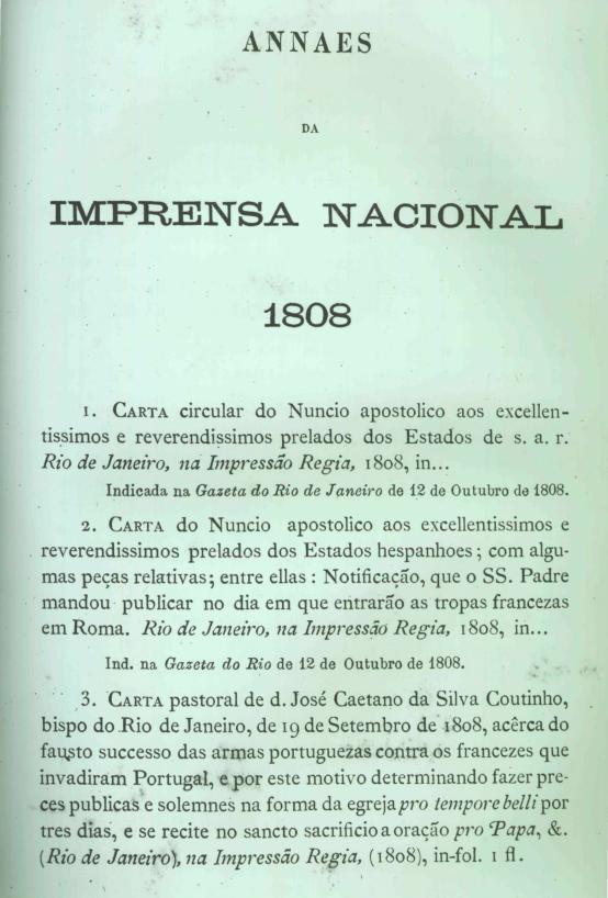 Capa do Livro ANNAES 1808