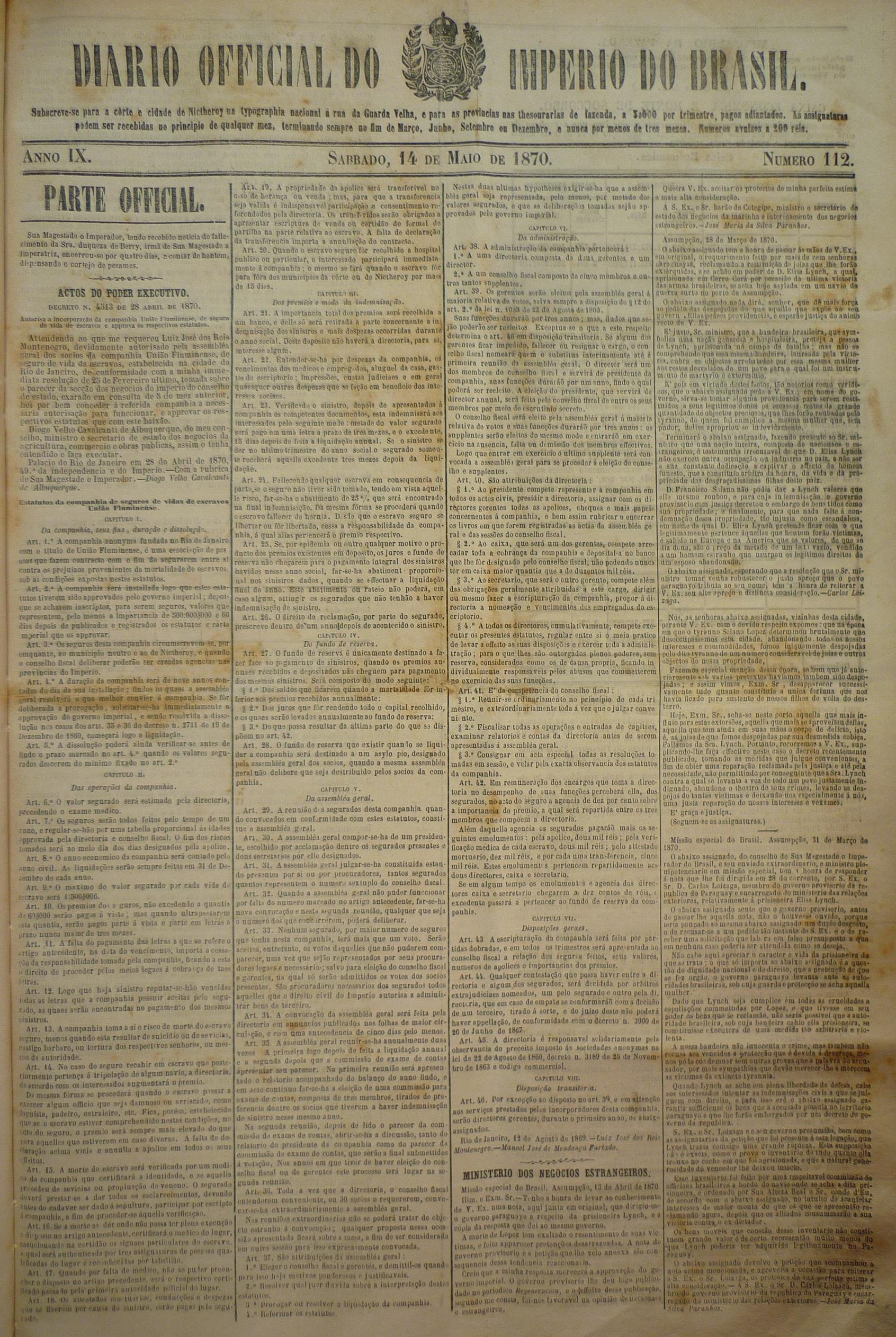 Autorisa a incorporação companhia União Fluminense, de seguro de vida de escravos e approva os respectivos estatutos.