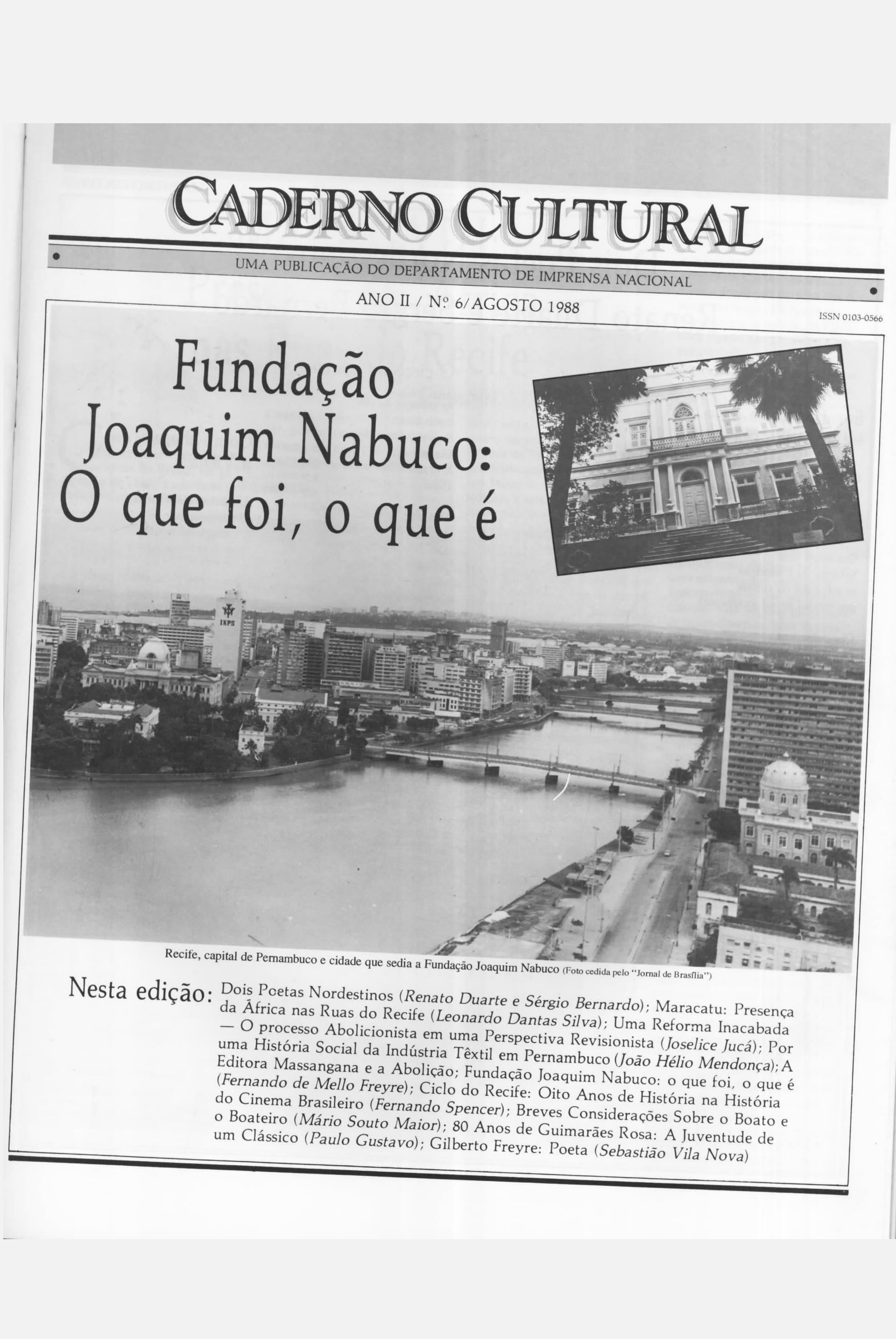 Capa do Livro Caderno Cultural - Ano II - nº 6 -1988