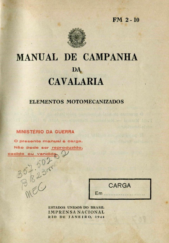 Capa do Livro Manual de Campanha da Cavalaria (Elementos Motomecanizados)