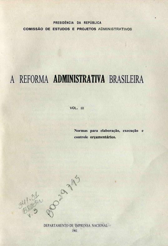 Capa do Livro A Reforma Administrativa Brasileira-V.III