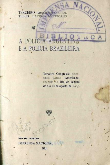 Capa do Livro A Policia Argentina e a Policia Brazileira
